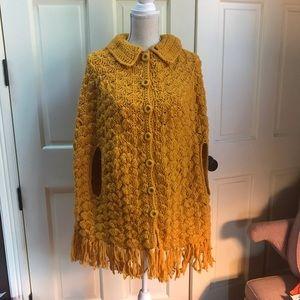 Vintage Mustard Crochet Cape